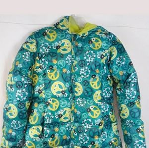 Faded Glory girls puffer hooded jacket Peace sz XL